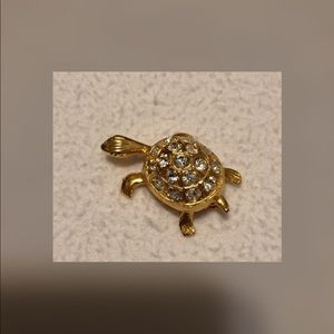4/$10.  Vintage Rhinestone Turtle Brooch